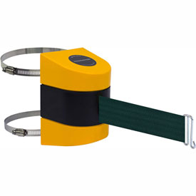 Tensabarrier Yellow Clamp Wall Mount 24'L Green Retractable Belt Barrier