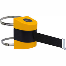 Tensabarrier Yellow Clamp Wall Mount 24'L Black Retractable Belt Barrier