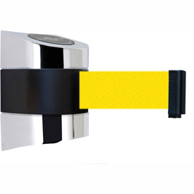Tensabarrier Pol Chrome Wall Mount 24'L Yellow Retractable Belt Barrier