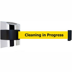 Tensabarrier Pol Chrome Wall Mount 24'L BLK/YLW Cleaning in Progress Retractable Belt Barrier