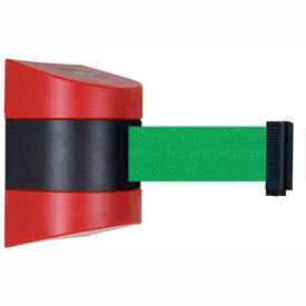 Tensabarrier Red Clamp Wall Mount 24'L Green Retractable Belt Barrier