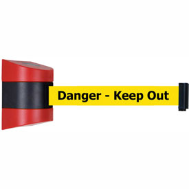 Tensabarrier Red Wall Mount 24'L Black/Yellow Danger-Keep Out Retractable Belt Barrier