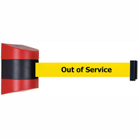 Tensabarrier Red Wall Mount 24'L BLK/YLW Out of ServiceRetractable Belt Barrier