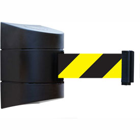 Tensabarrier Black Wall Mount 24'L Black/Yellow Chevron Retractable Belt Barrier