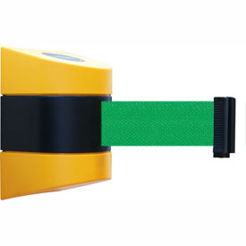 Tensabarrier Yellow Wall Mount 24'L Green Retractable Belt Barrier