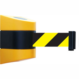 Tensabarrier Yellow Wall Mount 24'L Black/Yellow Chevron Retractable Belt Barrier