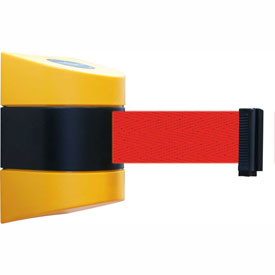 Tensabarrier Yellow Wall Mount 24'L Black/Yellow Red Retractable Belt Barrier