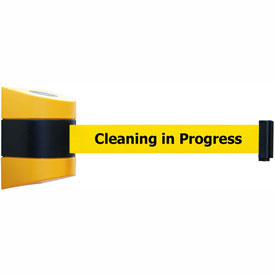 Tensabarrier Yellow Wall Mount 24'L Black/Yellow Cleaning in Progress Retractable Belt Barrier