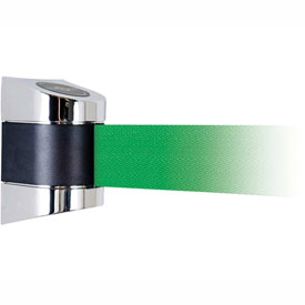 Tensabarrier Pol Chrome Wall Mount 15'L Green Retractable Belt Barrier