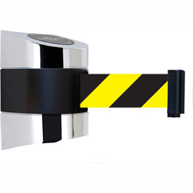 Tensabarrier Polished Chrome Wall Mount 15'L Black/Yellow Chevron Retractable Belt Barrier