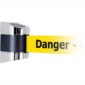 Tensabarrier Pol Chrome Wall Mount 15'L BLK/YLW Danger-Keep Out Retractable Belt Barrier