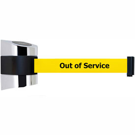 "Tensabarrier Polished Chrome Wall Mount 15'L Yellow ""Out of Service"" Retractable Belt Barrier"