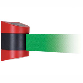 Tensabarrier Red Wall Mount 15'L Green Retractable Belt Barrier