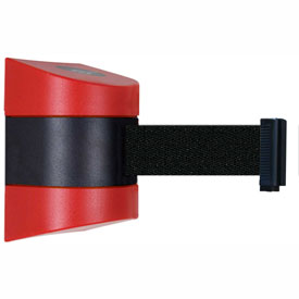 Tensabarrier Red Wall Mount 15'L Black Retractable Belt Barrier