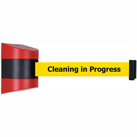 Tensabarrier Red Wall Mount 15'L BLK/YLW Cleaning in Progress Retractable Belt Barrier