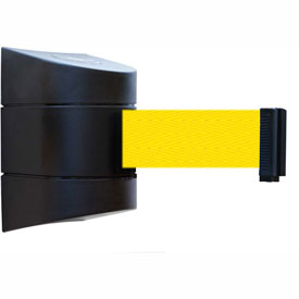 Tensabarrier Black Wall Mount 15'L Yellow Retractable Belt Barrier