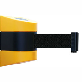 Tensabarrier Yellow Wall Mount 15'L Black Retractable Belt Barrier