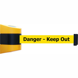 "Tensabarrier Yellow Wall Mount 15'L Black/Yellow ""Danger - Keep Out"" Retractable Belt Barrier"