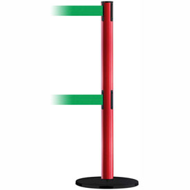 Tensabarrier Red Adv Univ Dual Line 7.5'L Green Retractable Belt Barrier