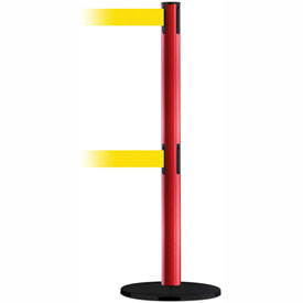 Tensabarrier Red Adv Univ Dual Line 7.5'L Yellow Retractable Belt Barrier