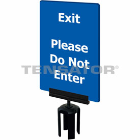 "Tensabarrier Blue 7""x11"" 1/4"" Classic Acrylic Sign - Exit Please Do Not Enter"