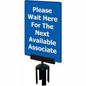"Tensabarrier Blue 7""x11"" 1/4"" Classic Acrylic Sign - Please Wait Here"