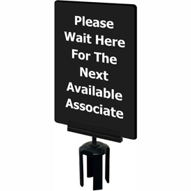 "Tensabarrier 7""x11"" 1/4"" Thick Acrylic Sign - ""Please Wait Here For The Next Available Associate"""