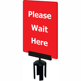 "Tensabarrier Red 7""x11"" 1/4"" Thick Acrylic Sign - Please Wait Here"