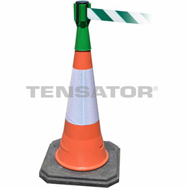 Tensabarrier Green TensaCone Topper 7.5'L Green/White Chevron Retractable Belt Barrier