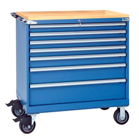 "Lista® 7 Drawer 40-1/4"" Shallow Depth Mobile Cabinet w/Butcher Top-Blue, Individual Lock"