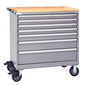 "Lista® 7 Drawer 40-1/4""W Shallow Depth Mobile Cabinet w/Butcher Top-Gray, Individual Lock"