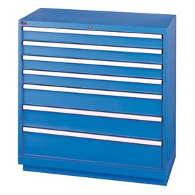 Lista® 7 Drawer Shallow Depth Cabinet - Blue, Individual Lock
