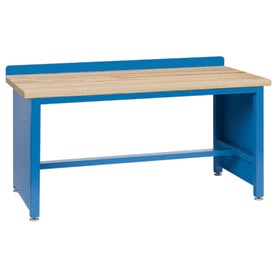 Technical Workbench with Tech Legs, Butcher Block Top - Blue