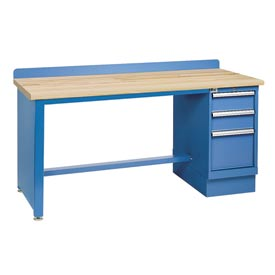 Technical Workbench w/Tech Leg, 3 Drawer Cabinet, Butcher Block Top - Blue