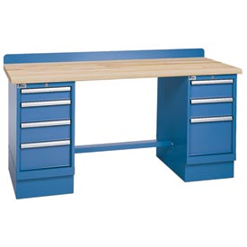 Technical Workbench w/3 and 4 Drawer Cabinets, Butcher Block Top - Blue