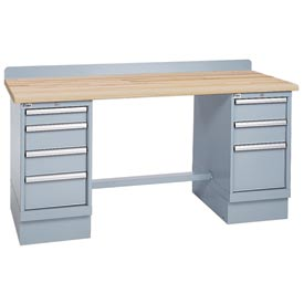 Technical Workbench w/3 and 4 Drawer Cabinets, Butcher Block Top - Gray