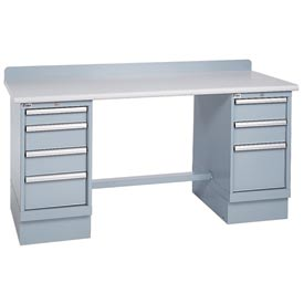 Technical Workbench w/3 and 4 Drawer Cabinets, Plastic Laminate Top - Gray