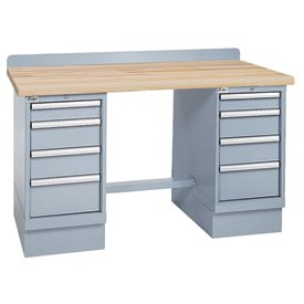 Technical Workbench w/4 Drawer Cabinets, Butcher Block Top - Gray