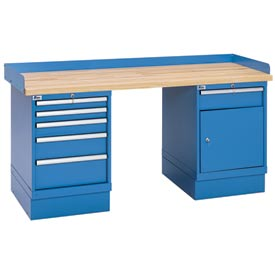 Industrial Workbench w/5 and 1 Drawer w/Shelf Cabinets, Butcher Block Top - Blue