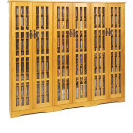 Mission Style Inlaid Glass Doors Multimedia Storage Cabinet Oak, 1431 CDs