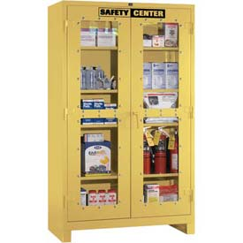 "Lyon Safety Supply Cabinet 741120SC - With Clear View Doors, 48""W x 24""D x 82""H, Yellow"