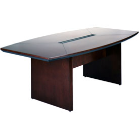 Mayline® 6' Conference Table - Boat Shaped - Mahogany - Corsica Series
