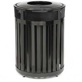 """Round-Open Top Trash Can, Black, 23 gal capacity, 20.5""""Dia x 33.5""""H"""