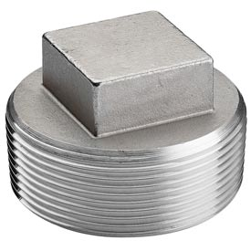 """Iso Ss 304 Cast Pipe Fitting Square Head Cored Plug 4"""" Npt Male - Pkg Qty 6"""