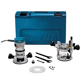 Makita® RF1101KIT2, 2-1/4 HP Industrial Router Kit Plunge/Fixed Base, 8,000-24,000 RPM, var spd