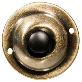 """Morris Products 78235, Round Pushbutton 1-3/4"""" Solid Antique Brass"""