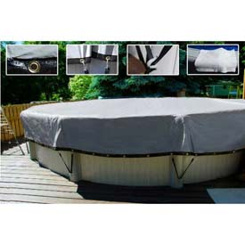 20' Dia. Above Ground Pool Cover 2' Side Drops w/Grommets, Black/Silver - TTS-12000-SP-20' DIA