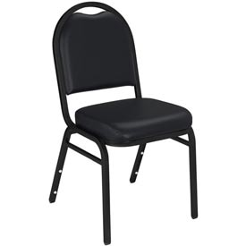 """NPS Stacking Chair - 2"""" Vinyl Seat - Dome Back - Black Seat with Black Frame"""