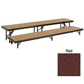 "2 Level Straight Riser with Carpet - 96""L x 18""W - 8""H & 16""H - Red"