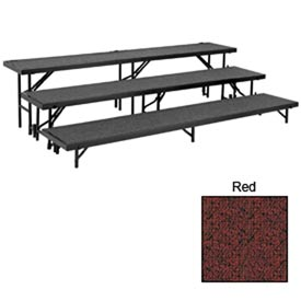 "3 Level Straight Riser with Carpet - 96""L x 18""W - 8""H, 16""H & 24""H - Red"